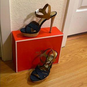 Coach denim heeled sandal (new)